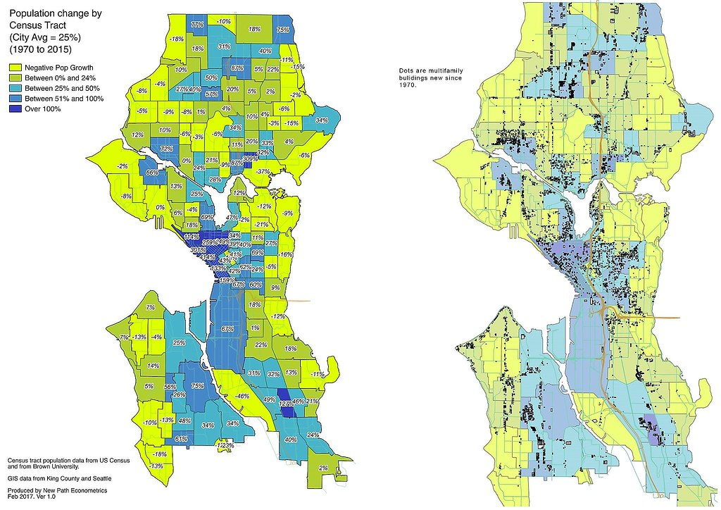 Seattle Population Change and MultiFamily New Development Flickr