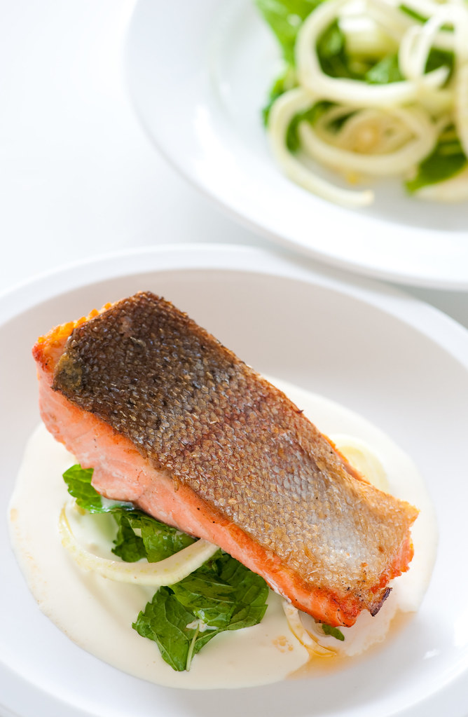 salmon with fennel & mint salad and tahini sauce | jules | Flickr