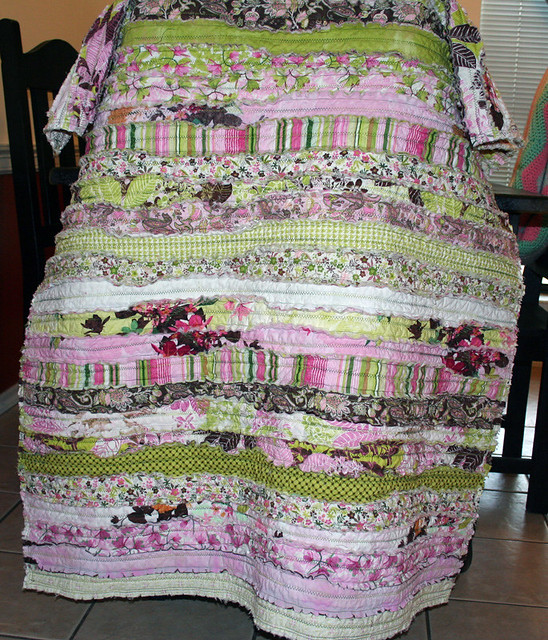 Strip Rag Quilt Made With A Jelly Roll From Moda Fabrics