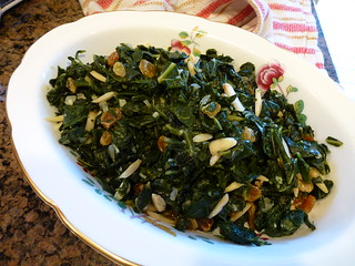 Collard Greens with Raisins and Almonds | by mealmakeovermoms