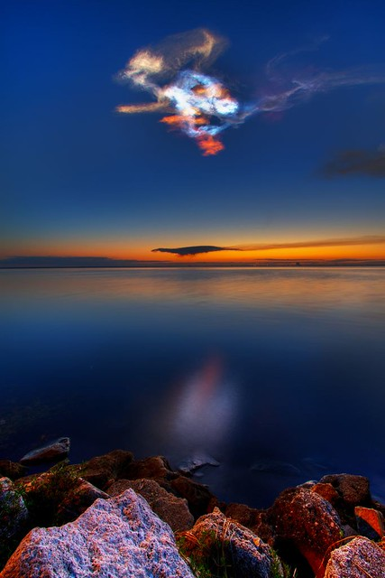 colorful noctilucent clouds in the sky sts131