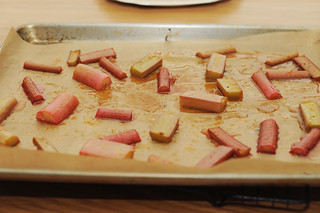 roasted rhubarb with vanilla and rose syrup | by sassyradish