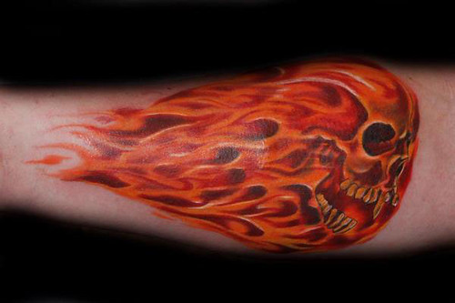 Fire Skull Tattoo