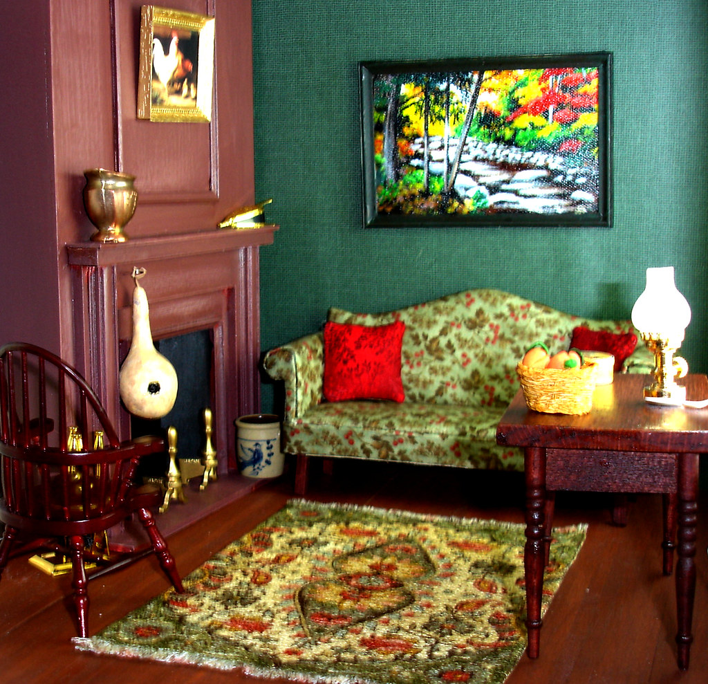 Chippendale Sofa In Early American Living Room A Green