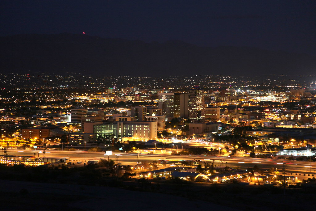 Downtown Tucson By Night Viewed From Sentinel Peak Or