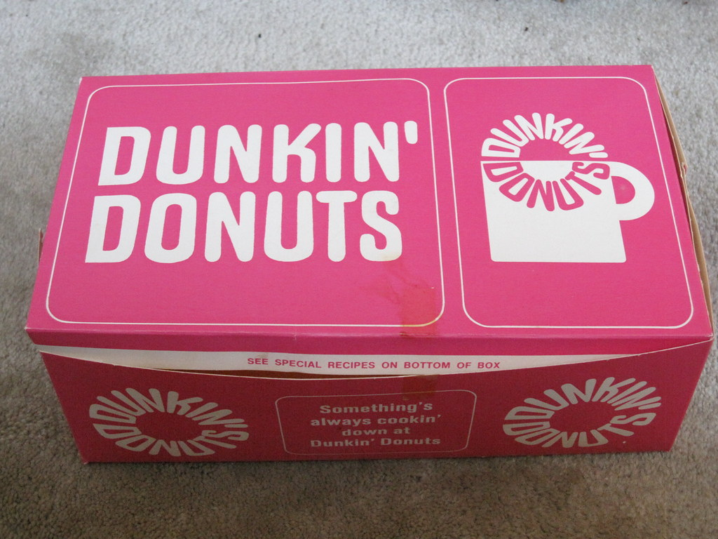 Dunkin Donuts box -1970s | While I love the pink and orange … | Flickr