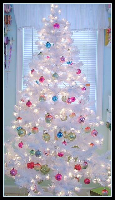 vintage retro shiny brite white christmas tree shabby chic
