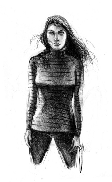 Girl Standing | I Began This Drawing A Sketch But When I Finu2026 | Flickr