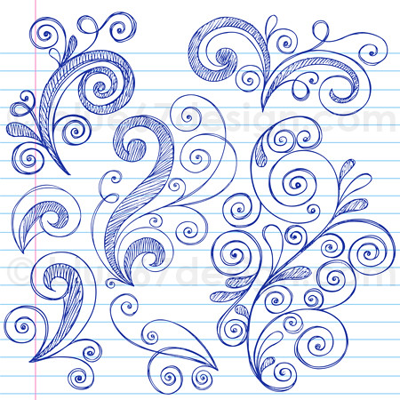 Hand-Drawn Sketchy Notebook Doodle Swirly Design Elements Vector Illustration by blue67 | by blue67design
