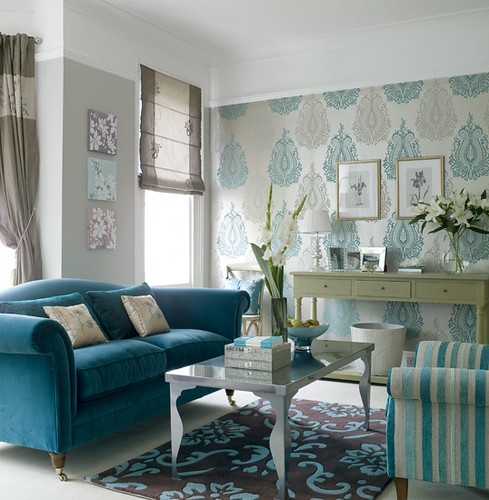 Ideal home turquoise living room for Tiffany d living room