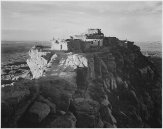 "Full view of the city on top of mountain, ""Walpi, Arizona, 1941."" 