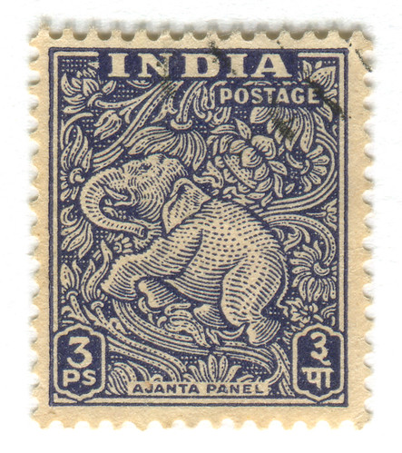 India Postage Stamp: Ajanta Caves elephant | by karen horton