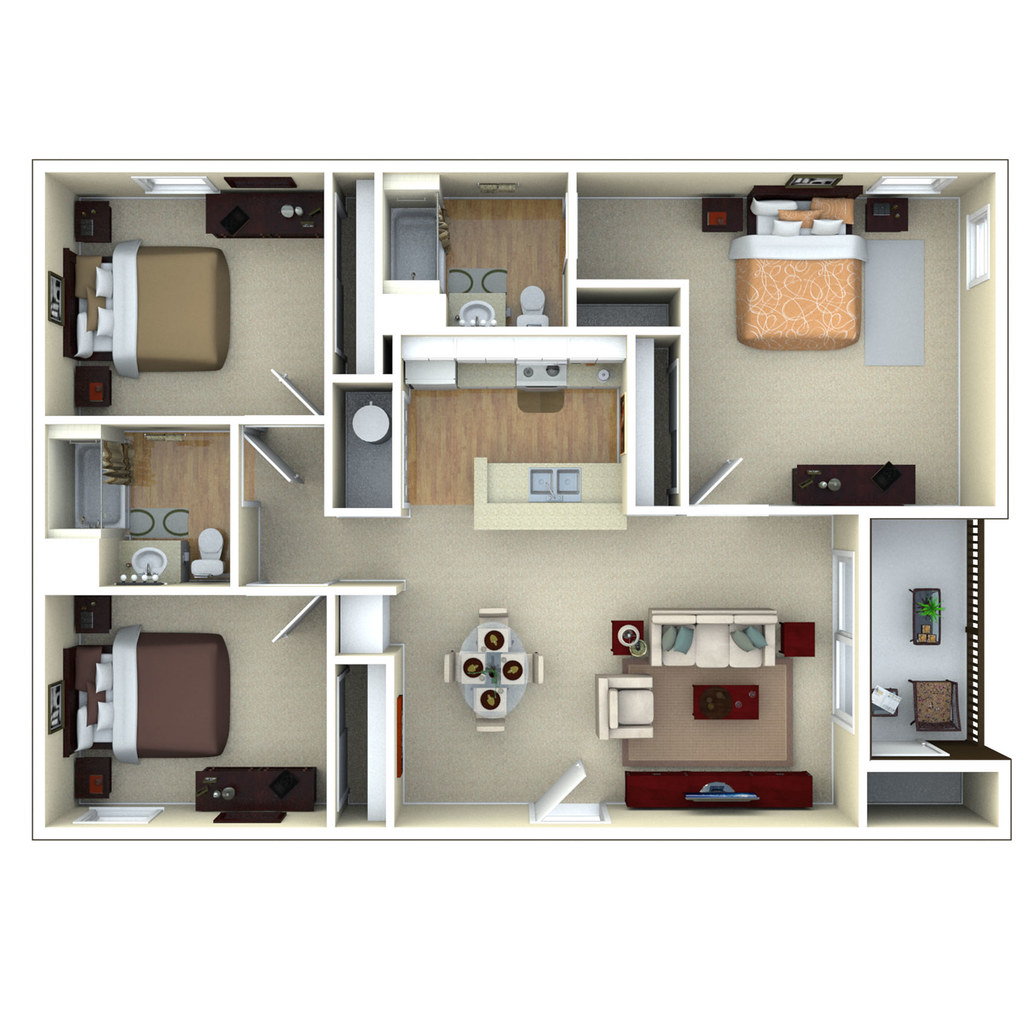 3bedroom 3d floor plan glenbrook apartments in sarasota for 3d apartment floor plans