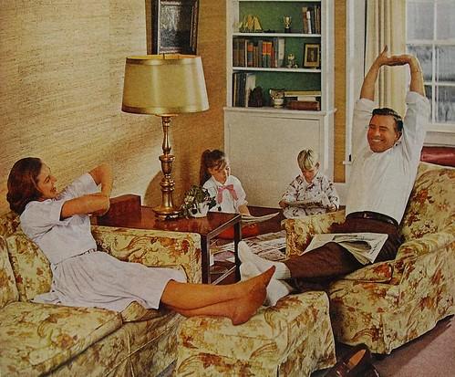 1960s Suburban Vintage Family Photo Parents Kids Living Ro