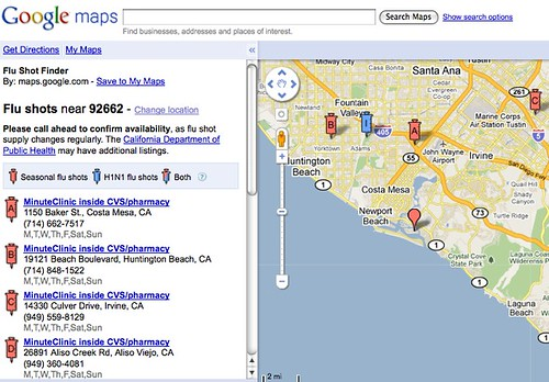Google Flu Shot Locator | by search-engine-land