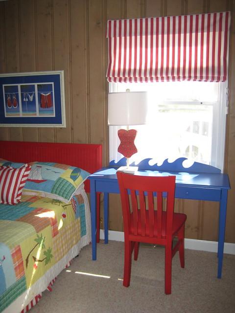Beach house kids room a custom desk with a wave shaped - Roman shades for kids room ...