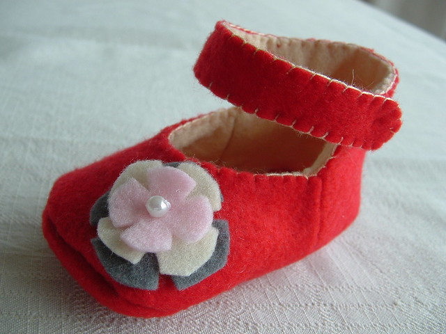 Felt Baby Shoe Quot Mary Jane Quot My First Felt Baby Shoe So