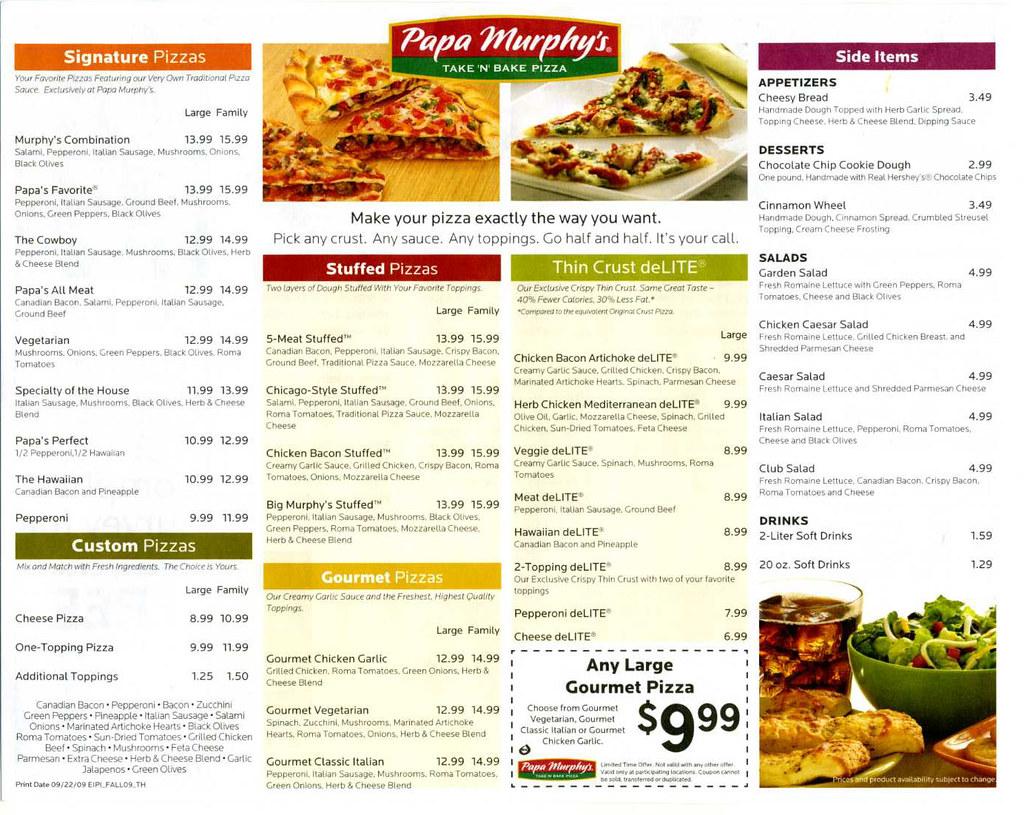 Papa murphy's pizza baking instructions/flyer (side 2) | flickr.
