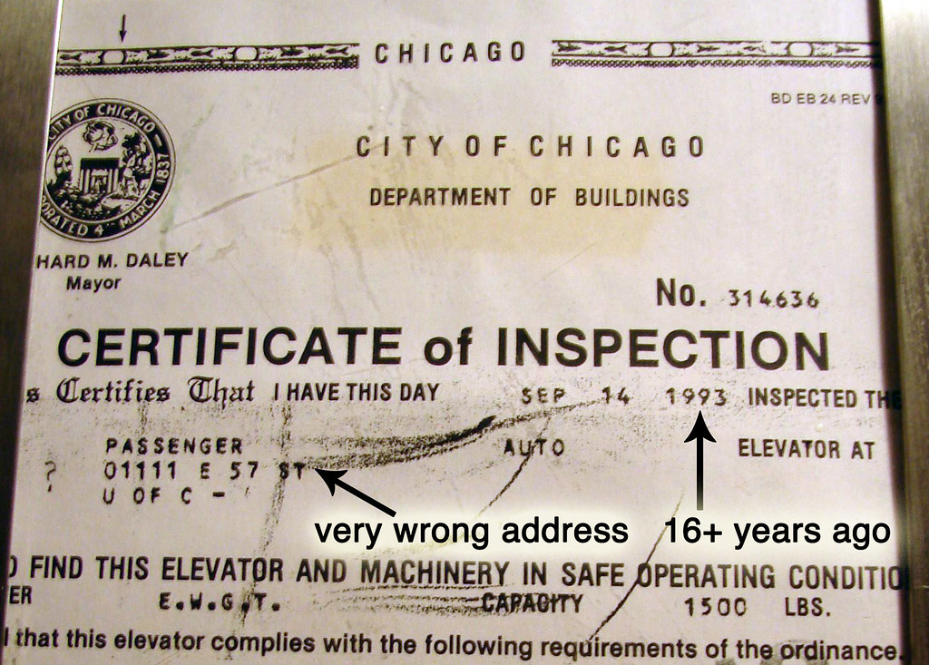 Foster Elevator Certificate Of Inspection That Would Be Fo Flickr