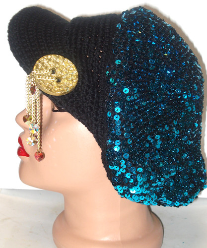 Crochet Cap with Blue Flake Beads | by DOGA ART HOUSE