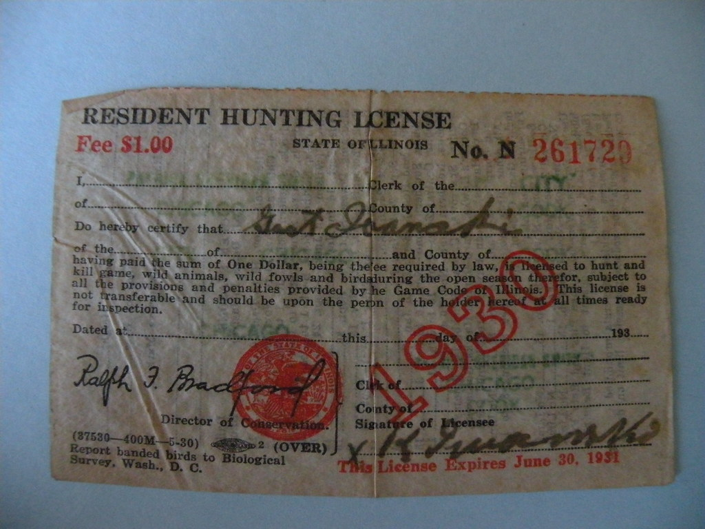Kostanty gust iwanski 39 s 1930 illinois hunting license for Fishing license il