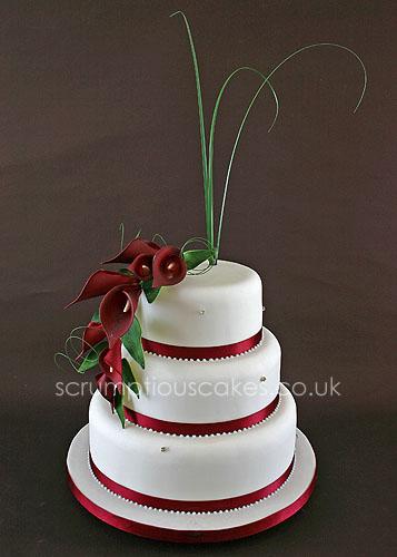 Wedding Cake 595 Burgundy Cala Lily Bouquet PaulaJane - Wedding Cake With Lilies