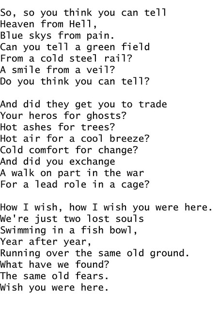 Guitar guitar tablature wish you were here : Pink Floyd Wish You Were Here Lyrics Meanings