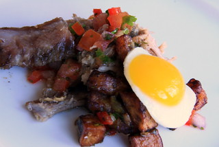 pulled pork and braised pork belly with sweep plantain hash and fried quail egg2 | by Dana Moos