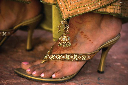 Mehendi On Feet Jeweled High Heel Flip Flops