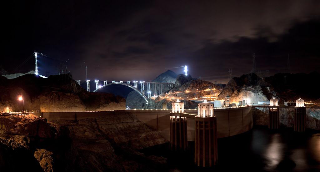 Hoover Dam Bridge At Night