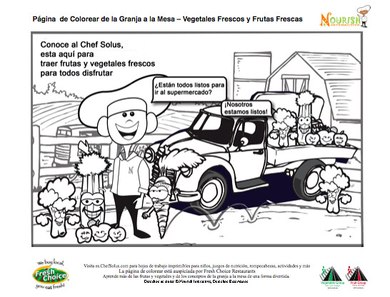 kids spanish nutrition healthy food coloring page farm to table farming coloring page