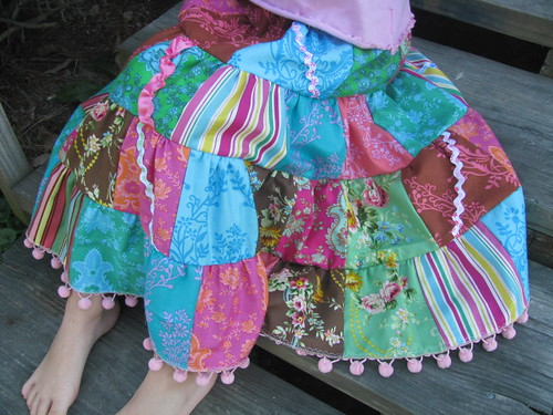 Patchwork skirt close up Shes been wanting the puff