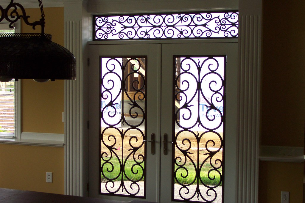 Faux Wrought Iron Entry Door Amp Transom Inserts The Door