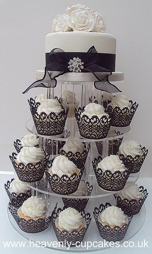 Cake Decorating Company Notts : Black & White Wedding Cupcake Tower- Nottingham 77 ...