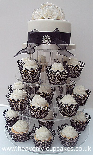 Black & White Wedding Cupcake Tower- Nottingham | 77 | Heavenly ...