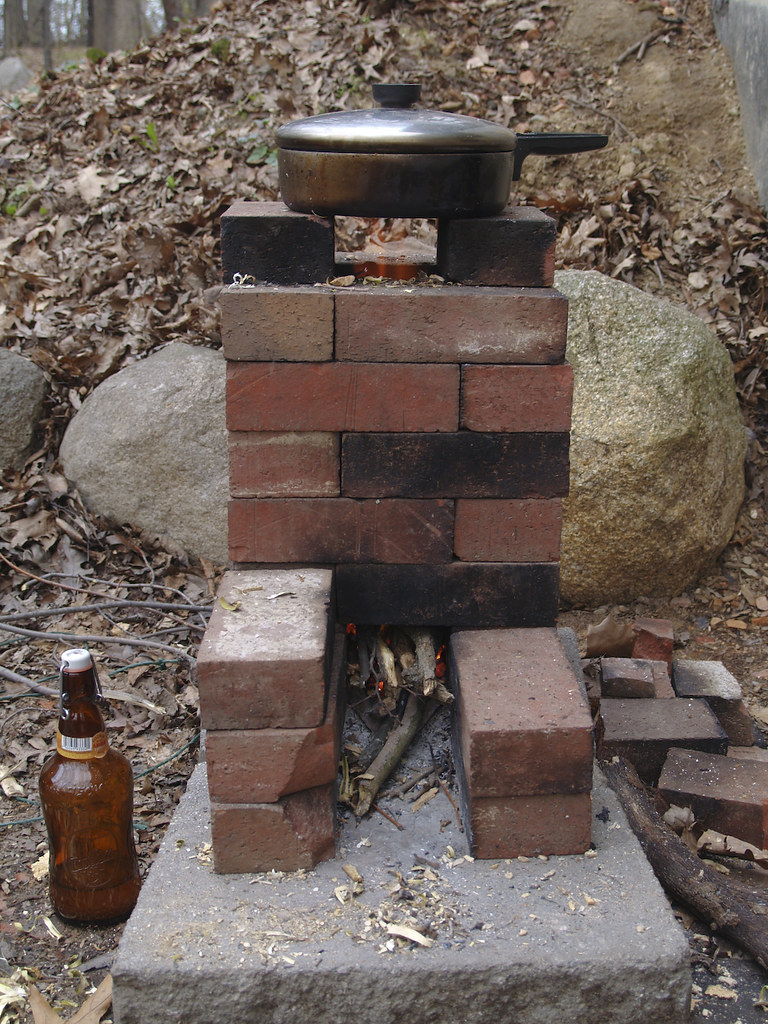 scrap brick rocket stove we built this rocket stove out