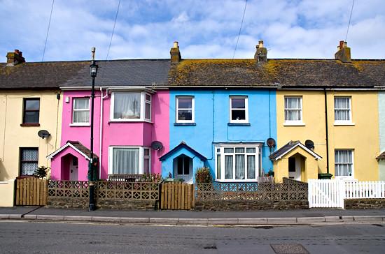 Row Of Coloured Houses A Terraced