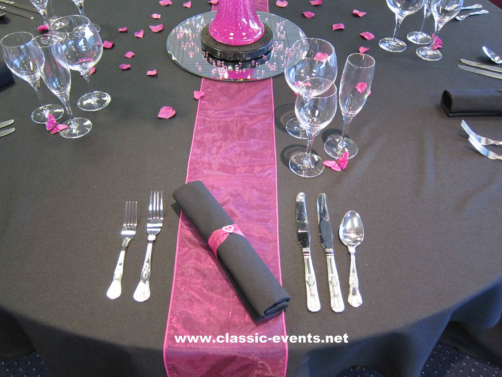 Classic Events Hot Pink \u0026 Black Place Setting | by .classic-events. & Classic Events Hot Pink \u0026 Black Place Setting | Decorated wi\u2026 | Flickr