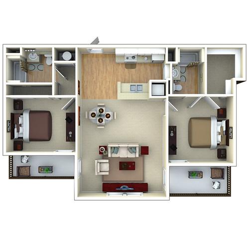 Orchard Park Apartments Springfield Il: 2bedroom 3D Floor Plan, Glenbrook Apartments In Sarasota