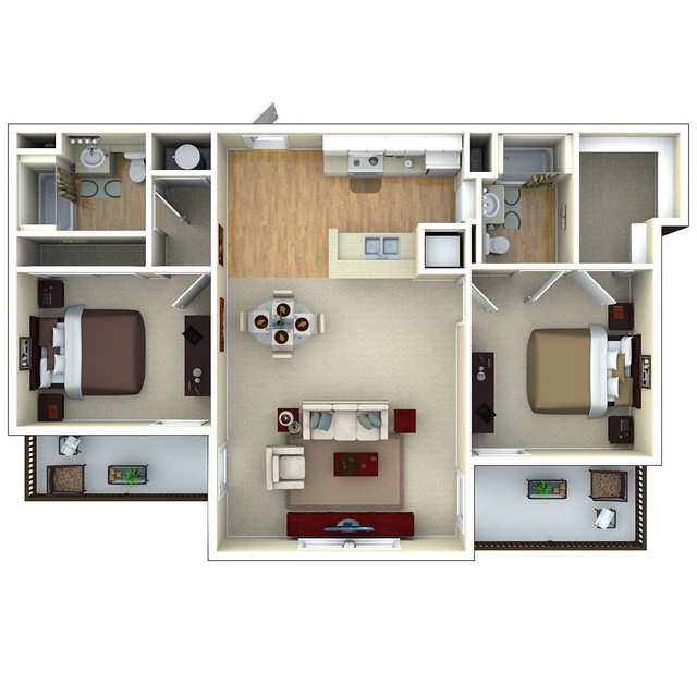 2bedroom 3d Floor Plan Glenbrook Apartments In Sarasota
