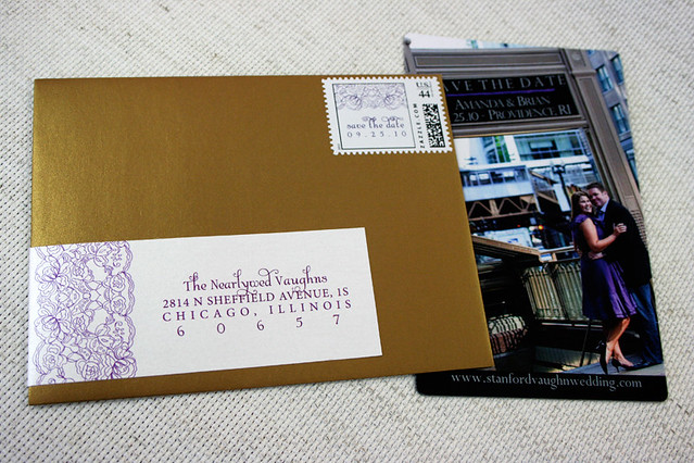 Save The Date Magnet W Wrap Around Mailing Labels And Custom Stamp
