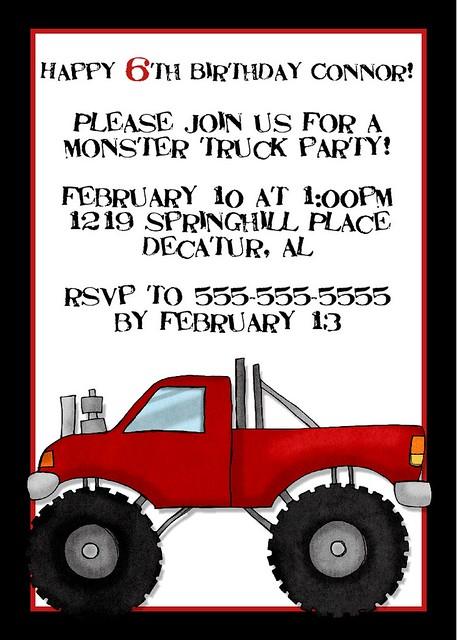 monster truck birthday party invitation 2