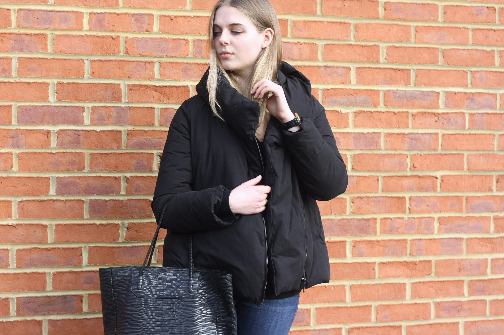 Larsson & Jennings Saxon black suede watch, Zara black puffa jacket and Alexander Wang Prisma black bag
