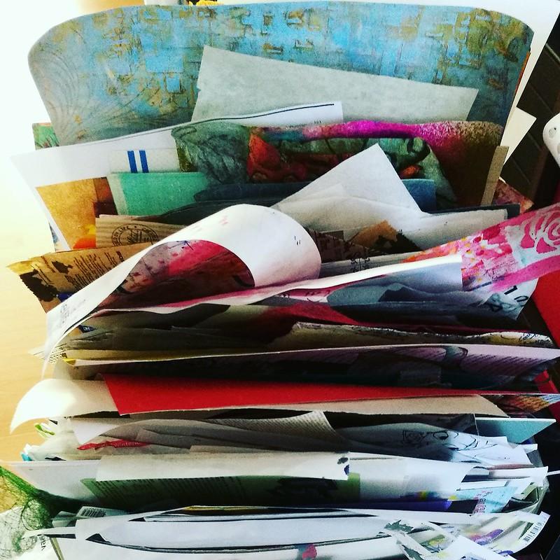 junk paper scraps box
