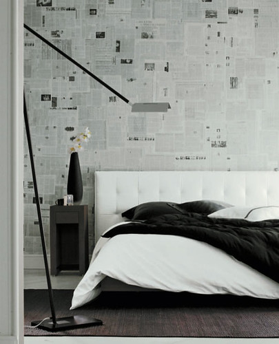 Wallpaper ideas: Newspaper + black + white bedroom | by SarahKaron