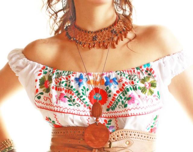 ... Vintage Mexican white wedding embroidered dress off shoulder | by Aida  Coronado Galeria