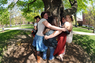 University of Michigan students participate in an Earth Day Tree Hugging Flash Mob