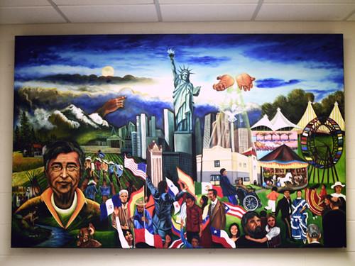 Cesar chavez mural dedicado a cesar chavez y la lucha de for Cesar chavez mural
