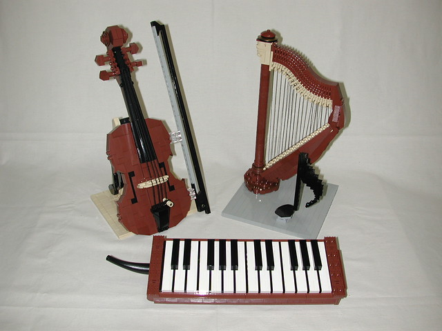 LEGO musical instruments | LEGO melodica , violin , harp and ...