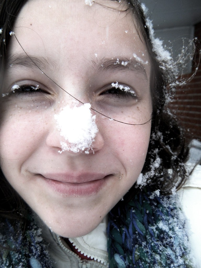 """Snowflakes that stay on my nose and eyelashes"" 